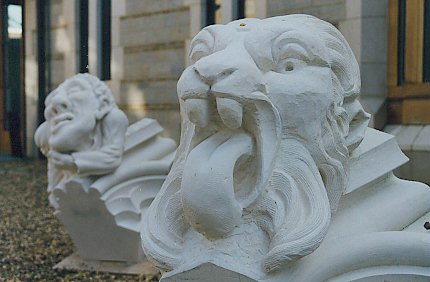Newly carved gargoyles on display in Canterbury.