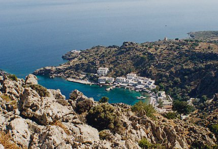 Loutro seen from the mountain trail.