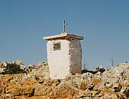 Religious shrine at the top of the mountain trail, near Loutro.